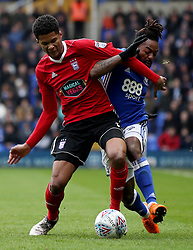 """Birmingham City's Jacques Maghoma is challenged by Ipswich Town's Jordan Spence during the Championship match at St Andrews, Birmingham. PRESS ASSOCIATION Photo. Picture date: Saturday March 31, 2018. See PA story SOCCER Birmingham. Photo credit should read: Chris Radburn/PA Wire. RESTRICTIONS: EDITORIAL USE ONLY No use with unauthorised audio, video, data, fixture lists, club/league logos or """"live"""" services. Online in-match use limited to 75 images, no video emulation. No use in betting, games or single club/league/player publications."""