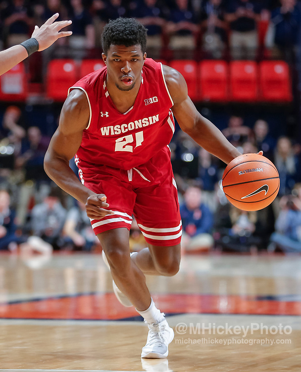 CHAMPAIGN, IL - FEBRUARY 08: Khalil Iverson #21 of the Wisconsin Badgers drives to the basket during the game against the Illinois Fighting Illini at State Farm Center on February 8, 2018 in Champaign, Illinois. (Photo by Michael Hickey/Getty Images) *** Local Caption *** Khalil Iverson