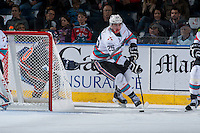 KELOWNA, CANADA - MARCH 25: Cal Foote #25 of Kelowna Rockets skates with the puck against the Kamloops Blazers on March 25, 2016 at Prospera Place in Kelowna, British Columbia, Canada.  (Photo by Marissa Baecker/Shoot the Breeze)  *** Local Caption *** Cal Foote;