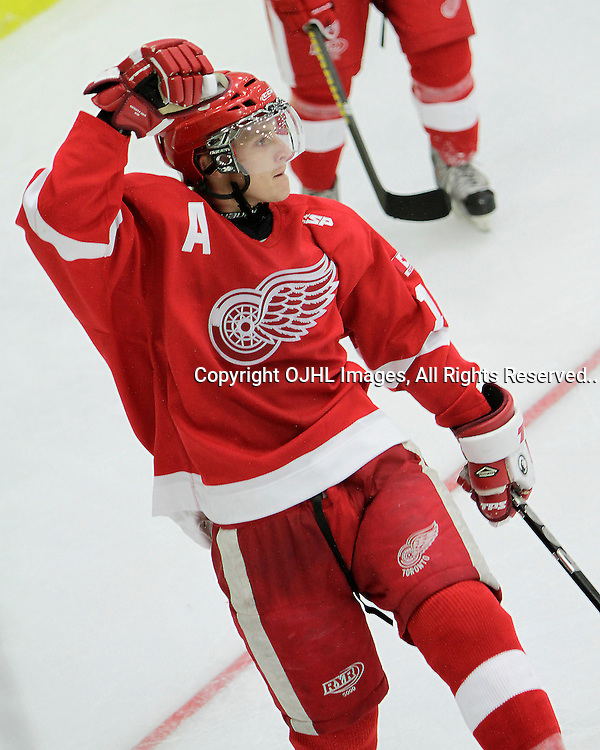 COBOURG, ON - Oct 14 : Ontario Junior Hockey League Game Action between the Toronto Jr. Canadian's and the Hamilton Red Wings at the Governors Showcase, Luke Laidlaw #18 of the Hamilton Red Wings..(Photo by Brian Watts / OJHL Images)