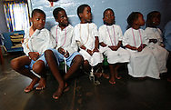 Young South African patients wait to take showers in the pediatric ward at Ngwelezana Hospital in Empangeni, South Africa on Wednesday, September 13, 2006.