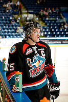 KELOWNA, CANADA, NOVEMBER 25: Colton Sissons #15 of the Kelowna Rockets stands on the ice during warm up as the Kootenay Ice visit the Kelowna Rockets  on November 25, 2011 at Prospera Place in Kelowna, British Columbia, Canada (Photo by Marissa Baecker/Shoot the Breeze) *** Local Caption *** Colton Sissons;