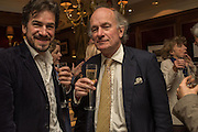 CHARLIE CAMPBELL; DAVID CAMPBELL, David Campbell Publisher of Everyman's Library and Champagen Bollinger celebrate the completion of the Everyman Wodehouse in 99 volumes and the 2015 Bollinger Everyman Wodehouse prize shortlist. The Archive Room, The Goring Hotel. London. 20 April 2015.