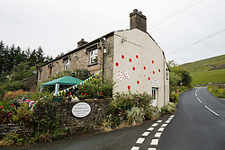A polka dot decorted house at the foot of Buttertubs Pass in the Yorkshire Dales - Photo mandatory by-line: Rogan Thomson/JMP - 07966 386802 - 04/07/2014 - SPORT - CYCLING - Yorkshire - Le Tour de France Grand Depart Previews.