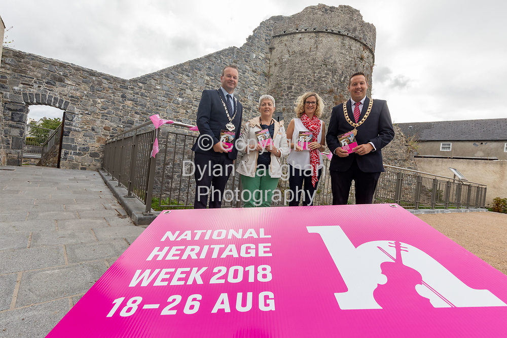 Repro Free No Charge for Repro<br /> <br /> <br /> 13th century Talbots Tower provides the stunning backdrop for the launch of Kilkenny&rsquo;s Heritage Week Programme (18th- 26th August). <br /> <br /> Celebrating the event are from left Cllr Eamon Aylward, Cathaoirleach, Kilkenny County Council; Bernadette Roberts, Clerical Officer Heritage Office; Dearbhala Ledwidge, Heritage Officer; Cllr. Peter Chap Cleere, Mayor Municipal District Kilkenny City. <br /> <br /> For details of all events taking place around the city and county see www.heritageweek.ie<br /> <br /> <br /> Picture Dylan Vaughan.
