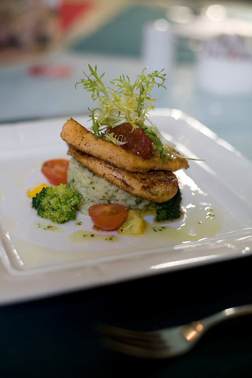A salmon and rice dish is served at Timezone 8 bookstore in the 798 art district.