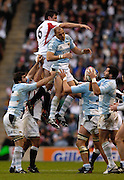 Twickenham. GREAT BRITAIN, Antony ALLEN is tackled by Felipe CONTPOMI, as he runs out defence, during the, 2006 Investec Challenge, game between, England  and Argentina, on Sat., 11/11/2006, played at the Twickenham Stadium, England. Photo, Peter Spurrier/Intersport-images].....