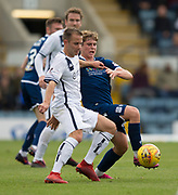 14th September 2019; Dens Park, Dundee, Scotland; Scottish Championship, Dundee Football Club versus Alloa Athletic; Alan Trouten of Alloa Athletic challenges for the ball with Finlay Robertson of Dundee