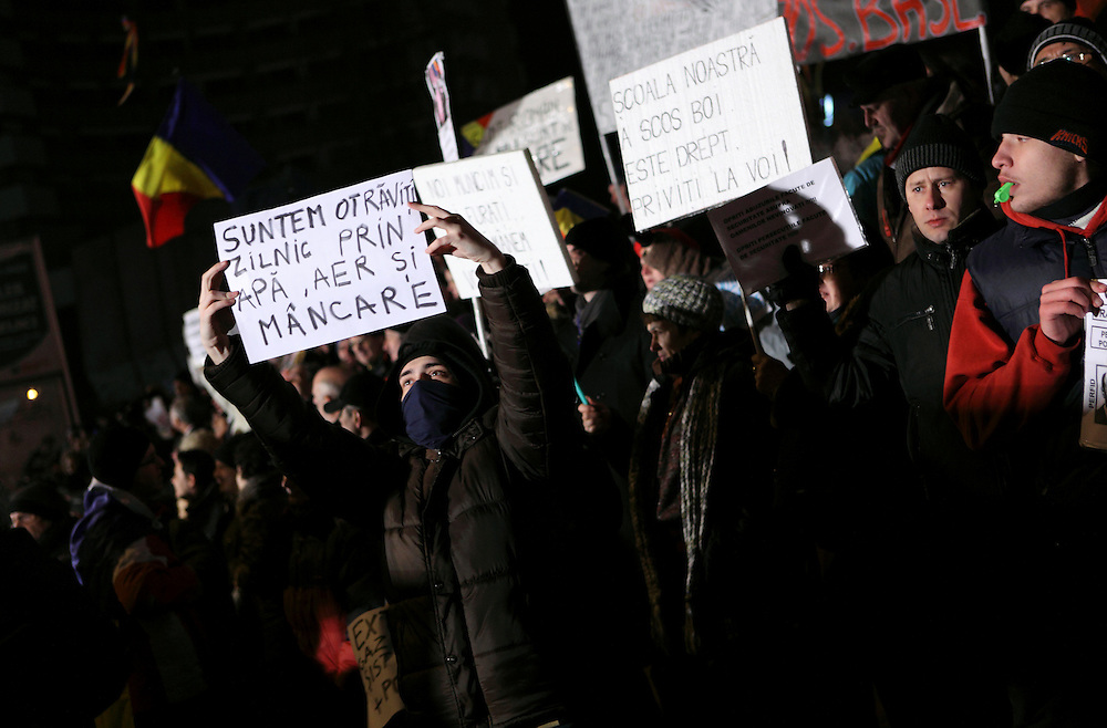 January 21st 2012, anti-austerity protest in University square, Bucharest, Romania. Hundreds of Romanians rallied  all over the country   to protest against austerity measures, calling for president Basescu and the government to resign.