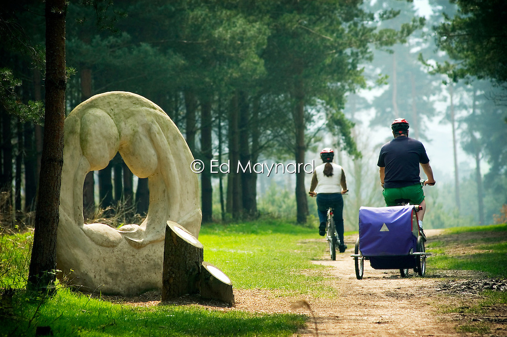 Artwork along The Route to Health walk and cycleway on Cannock Chase, Staffordshire, England, UK.