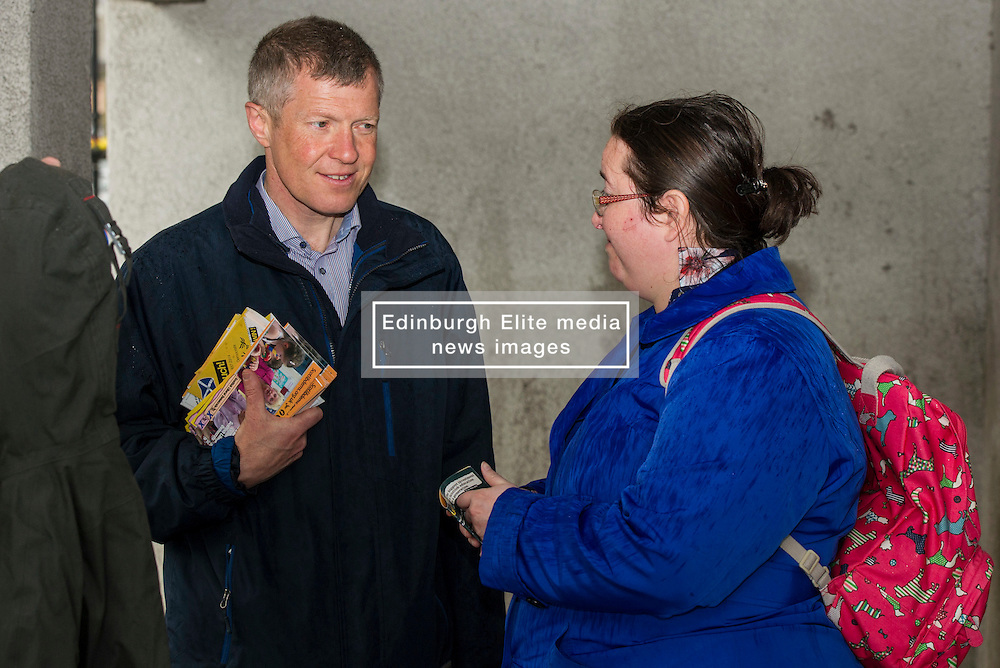 Pictured: <br /> <br /> Scottish Liberal Democrat leader Willie Rennie headed to a rainey Linlithgow today build on his success at the final TV debate ahead of the election on Thursday. The Lib Dems have not  ahd constituency MSP in the area in the past and hope  to change that on Thursday<br /> <br /> Ger Harley   EEm 2 May 2016