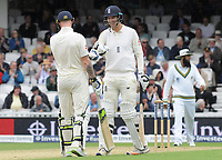 Cricket - 2017 South Africa Tour of England - Third Test, Day Two<br /> <br /> England debutant Toby Roland - Jones enjoying himself as a batsman with Ben Stokes during the afternoon session, at The Oval.<br /> <br /> COLORSPORT/ANDREW COWIE