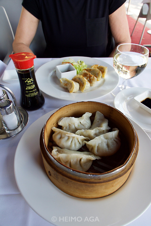 "Vienna, Austria. Steamed and fried Gyoza (""Pot Stickers"") at Kiang restaurant."