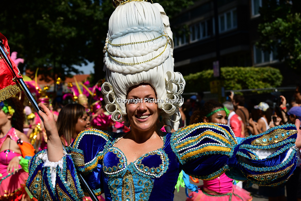 Thousands attend the first day of the Notting Hill Carnival in west London on August 26, 2019. Nearly one million people are expected by the organizers regradless of the wet weather Sunday and Monday in the streets of west London's Notting Hill to celebrate Caribbean culture at a carnival considered the largest street demonstration in Europe, London, UK.