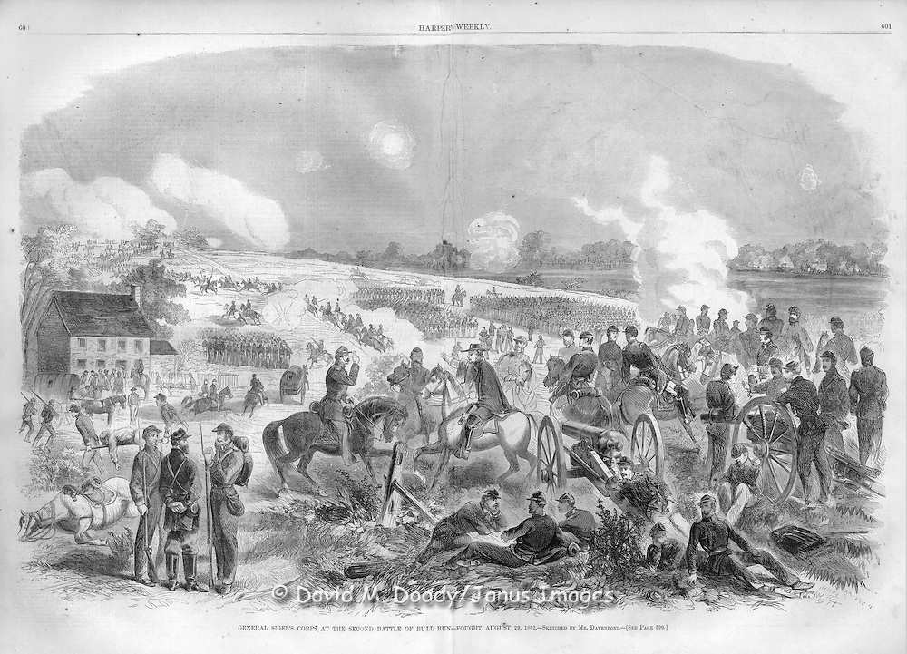 The Civil War Second Battle of Bull Run at Manassass, Virginia August 29, 1862. Illustration from Harper's Weekly, 1862