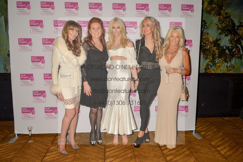Left to right, BARONESS ALEXIS LEWIS DE STRAUSER, SARAH, DUCHESS OF YORK, AMANDA CRONIN, JUSTINE NAVIDE and SALLY WOODWARD at an Evening of Riviera Inspired Glamour in aid of CLIC Sargentheld at Sketch, 9 Conduit Street, London on 25th January 2016.
