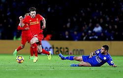 Adam Lallana of Liverpool skips past a tackle from Danny Simpson of Leicester City - Mandatory by-line: Robbie Stephenson/JMP - 27/02/2017 - FOOTBALL - King Power Stadium - Leicester, England - Leicester City v Liverpool - Premier League