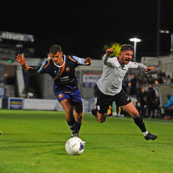 TELFORD COPYRIGHT MIKE SHERIDAN Steph Morley of Telfordis fouled during the National League North fixture between AFC Telford United and Gloucester City at the New Bucks Head Stadium on Tuesday, September 3, 2019<br /> <br /> Picture credit: Mike Sheridan<br /> <br /> MS201920-015