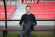 Macclesfield Town manager Daryl McMahon before the EFL Sky Bet League 2 match between Salford City and Macclesfield Town at the Peninsula Stadium, Salford, United Kingdom on 23 November 2019.
