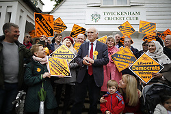 © Licensed to London News Pictures. 28/04/2017. London, UK. Vince Cable stands next to his wife Rachel Smith as he talks to supporters on Twickenham Green as he launches his election campaign in a bid to return to Parliament.  Photo credit: Peter Macdiarmid/LNP