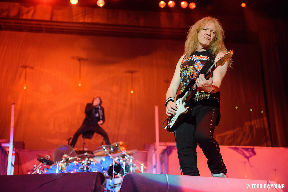 UK heavy metal band Iron Maiden performing on the Maiden Enland World Tour at Verizon Wireless Amphitheater in St. Louis on September 8, 2013.