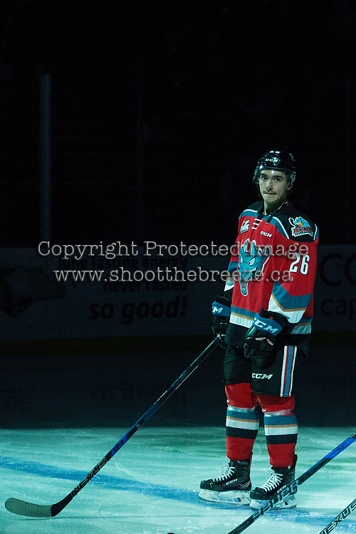 KELOWNA, CANADA - NOVEMBER 14: Liam Kindree #26 of the Kelowna Rockets lines up on the blue line at the start of the game against the Edmonton Oil Kings on November 14, 2017 at Prospera Place in Kelowna, British Columbia, Canada.  (Photo by Marissa Baecker/Shoot the Breeze)  *** Local Caption ***