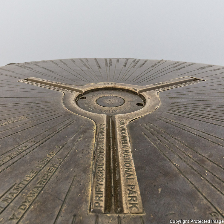 Snowdon summit Trig Point, Wales' highest Mountain at 1085m, Gwynedd.