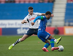 Nathan Byrne of Wigan Athletic (R) and Andrew Hughes of Preston North End in action - Mandatory by-line: Jack Phillips/JMP - 08/02/2020 - FOOTBALL - DW Stadium - Wigan, England - Wigan Athletic v Preston North End - English Football League Championship