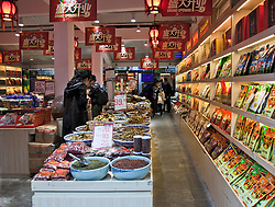 Interior of Chinese Food and Spices Store, Ciqikou, Chongqing.