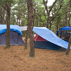 A camp scene at the North of Highland Campground at the Cape Cod National Seashore in Truro, Massachusetts.