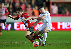 EXETER, ENGLAND - Friday, January 8, 2016: Liverpool's Connor Randall in action against Exeter City during the FA Cup 3rd Round match at St. James Park. (Pic by David Rawcliffe/Propaganda)