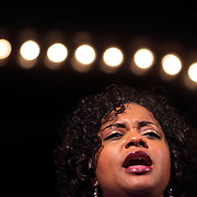 Joy Gregory rehearses before a performance of Smokey Joe's Cafe Sunday June 15, 2014 at the Scottish Rite Theater in Wilmington, N.C. (Jason A. Frizzelle)