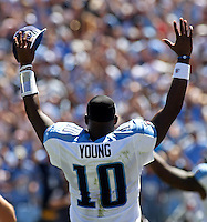 September 12,2010: Tennessee Titans quarterback Vince Young (10) celebrates a score against the Oakland Raiders during the game at LP Field in Nashville, Tennessee. The Titans defeated the Raiders 38 to 13.