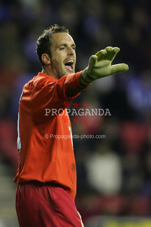 WIGAN, ENGLAND - TUESDAY, JANUARY 10th, 2006: Arsenal's goalkeeper Manuel Almunia after the first half during the League Cup match against Wigan Athletic at the JJB Stadium. (Pic by David Rawcliffe/Propaganda)