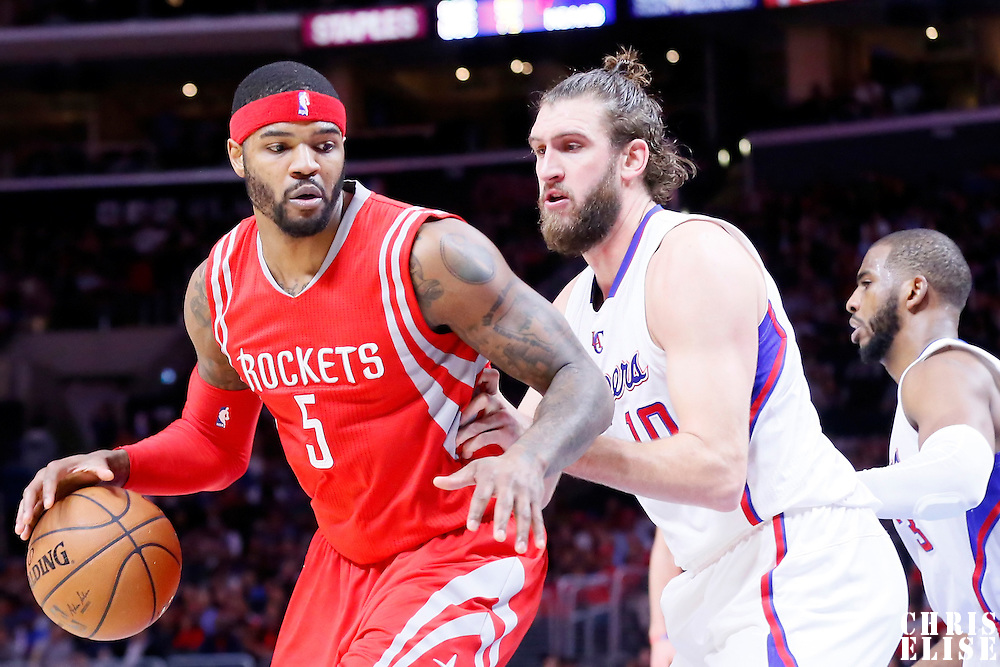 11 February 2015: Houston Rockets forward Josh Smith (5) posts up Los Angeles Clippers forward Spencer Hawes (10) during the Los Angeles Clippers 110-95 victory over the Houston Rockets, at the Staples Center, Los Angeles, California, USA.