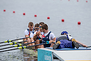 "Glasgow, Scotland, ""2nd August 2018"", GBR M4X,  Graeme THOMAS and Tom BARRAS, With a ""Cross Grip"" before their heat in the Men's Quadruple Sculls, European Games, Rowing, Strathclyde Park, North Lanarkshire, © Peter SPURRIER/Alamy Live News"