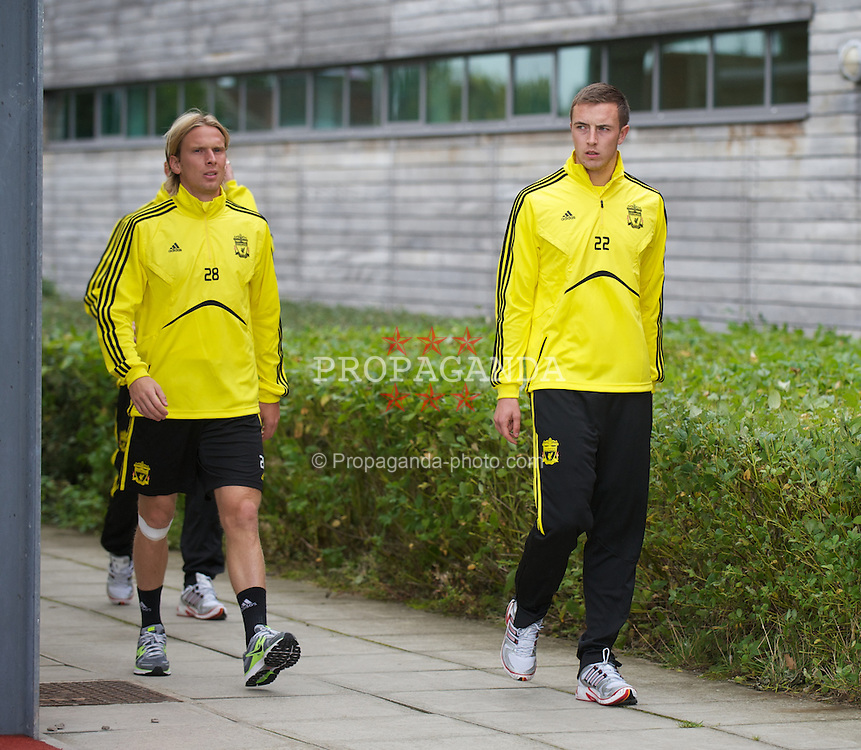 LIVERPOOL, ENGLAND - Wednesday, September 15, 2010: Liverpool's Christian Poulsen and Danny Wilson during a training session at Melwood Training Ground ahead of the opening UEFA Europa League Group K match against FC Steaua Bucuresti. (Photo by David Rawcliffe/Propaganda)