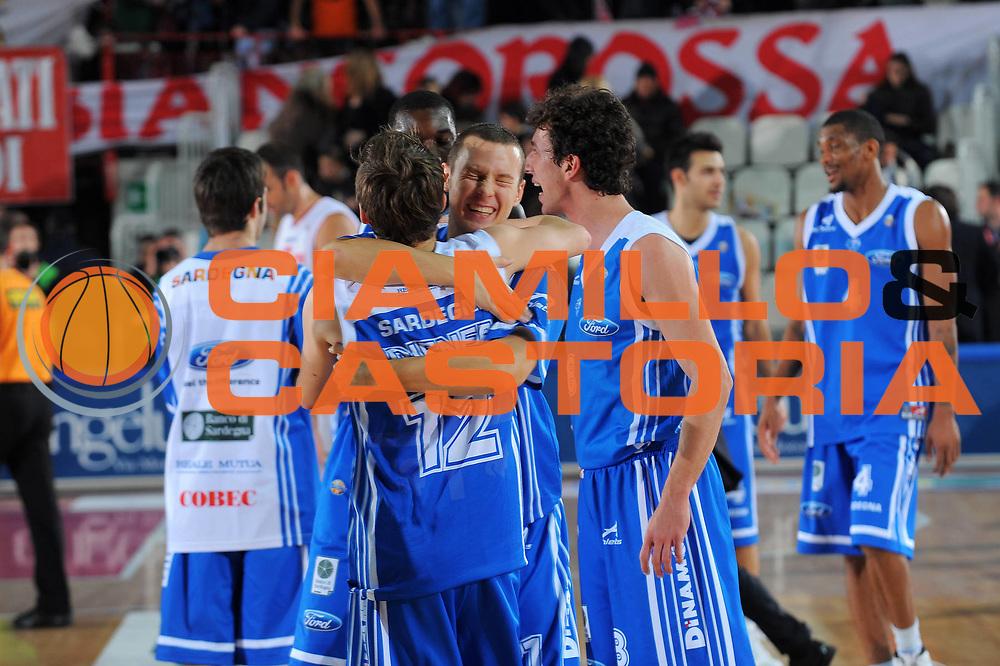 DESCRIZIONE : Varese Lega A 2010-11 Cimberio Varese Dinamo Sassari<br /> GIOCATORE : team Sassari<br /> SQUADRA : Dinamo Sassari<br /> EVENTO : Campionato Lega A 2010-2011<br /> GARA : Cimberio Varese Dinamo Sassari<br /> DATA : 06/01/2010<br /> CATEGORIA : Ritratto Esultanza<br /> SPORT : Pallacanestro<br /> AUTORE : Agenzia Ciamillo-Castoria/A.Dealberto<br /> Galleria : Lega Basket A 2010-2011<br /> Fotonotizia : Varese Lega A 2010-11Cimberio Varese Dinamo Sassari<br /> Predefinita :