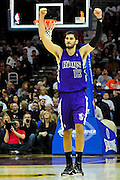 Oct. 30, 2010; Cleveland, OH, USA; Sacramento Kings small forward Omri Casspi (18) celebrates as the Kings take the lead over the Cavaliers during the third quarter at Quicken Loans Arena. The Kings beat the Cavaliers 107-104. Mandatory Credit: Jason Miller-US PRESSWIRE