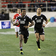 NZ Sevens' Ben Lam runs escort for Tomasi Cama as he races for a try vs. Wales at the USA Sevens Rugby at Sam Boyd Stadium, Las Vegas, Nevada, USA.  Photo by Barry Markowitz, 2/8/13