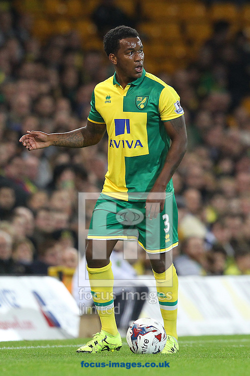 Andre Wisdom of Norwich in action during the Capital One Cup match at Carrow Road, Norwich<br /> Picture by Paul Chesterton/Focus Images Ltd +44 7904 640267<br /> 23/09/2015