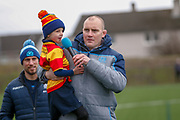 A young Clydebank RFC player gets the mike to ask some very pointed questions of the Scotland Squad during the training session and press conference for Scotland Rugby at Clydebank Community Sports Hub, Clydebank, Scotland on 13 February 2019.