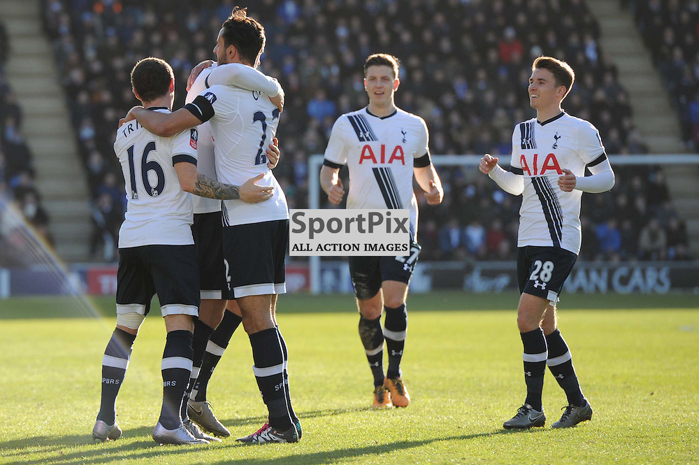 The Tottenham players celebrate Eric Dier scores to make it 2-0 during the Colchester v Tottenham game in the FA Cup 4th Round on the 30th January 2016.