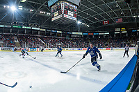KELOWNA, CANADA - FEBRUARY 12: Scott Walford #7 of the Victoria Royals tries to block a pass against the Kelowna Rockets  on February 12, 2018 at Prospera Place in Kelowna, British Columbia, Canada.  (Photo by Marissa Baecker/Shoot the Breeze)  *** Local Caption ***