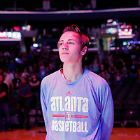 08 August 2014: Atlanta Dream guard Celine Dumerc (9) stands during the National Anthem prior to the Los Angeles Sparks 80-77 overtime win over the Atlanta Dream, at the Staples Center, Los Angeles, California, USA.