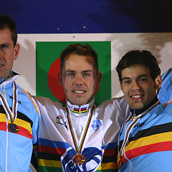 Sven Nys worldchampion cyclocross in Sankt Wendel Germany 2005 also on the podium Erwin Vervecken and Sven van Thourenhout