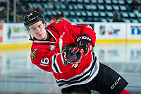 KELOWNA, CANADA - APRIL 8: Henri Jokiharju #16 of the Portland Winterhawks warms up with a shot on net against the Kelowna Rockets on April 8, 2017 at Prospera Place in Kelowna, British Columbia, Canada.  (Photo by Marissa Baecker/Shoot the Breeze)  *** Local Caption ***