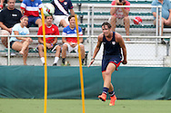 19 August 2014: Abby Wambach. The United States Women's National Team held a public training session at WakeMed Stadium in Cary, North Carolina.