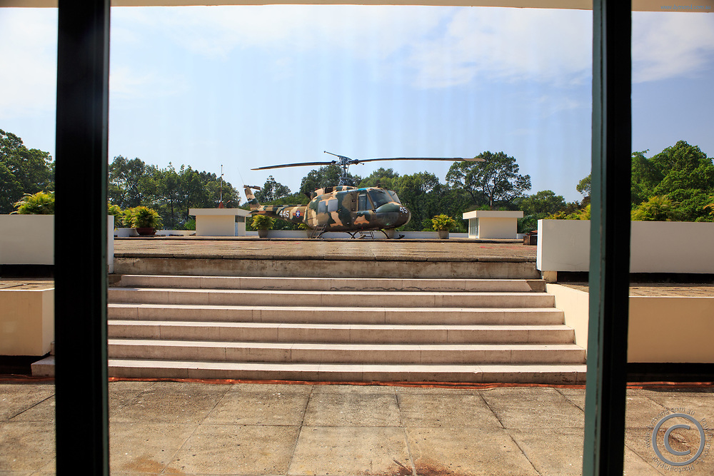 A military helicopter on the roof of the Independence Palace, Ho Chi Minh City, Vietnam