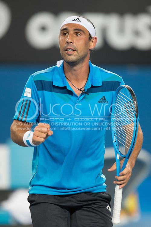 Marcos Baghdatis (CYP), January 13, 2014 - Tennis : Australian Open Championship. Melbourne Park, Melbourne, Victoria, Australia. Credit: Lucas Wroe